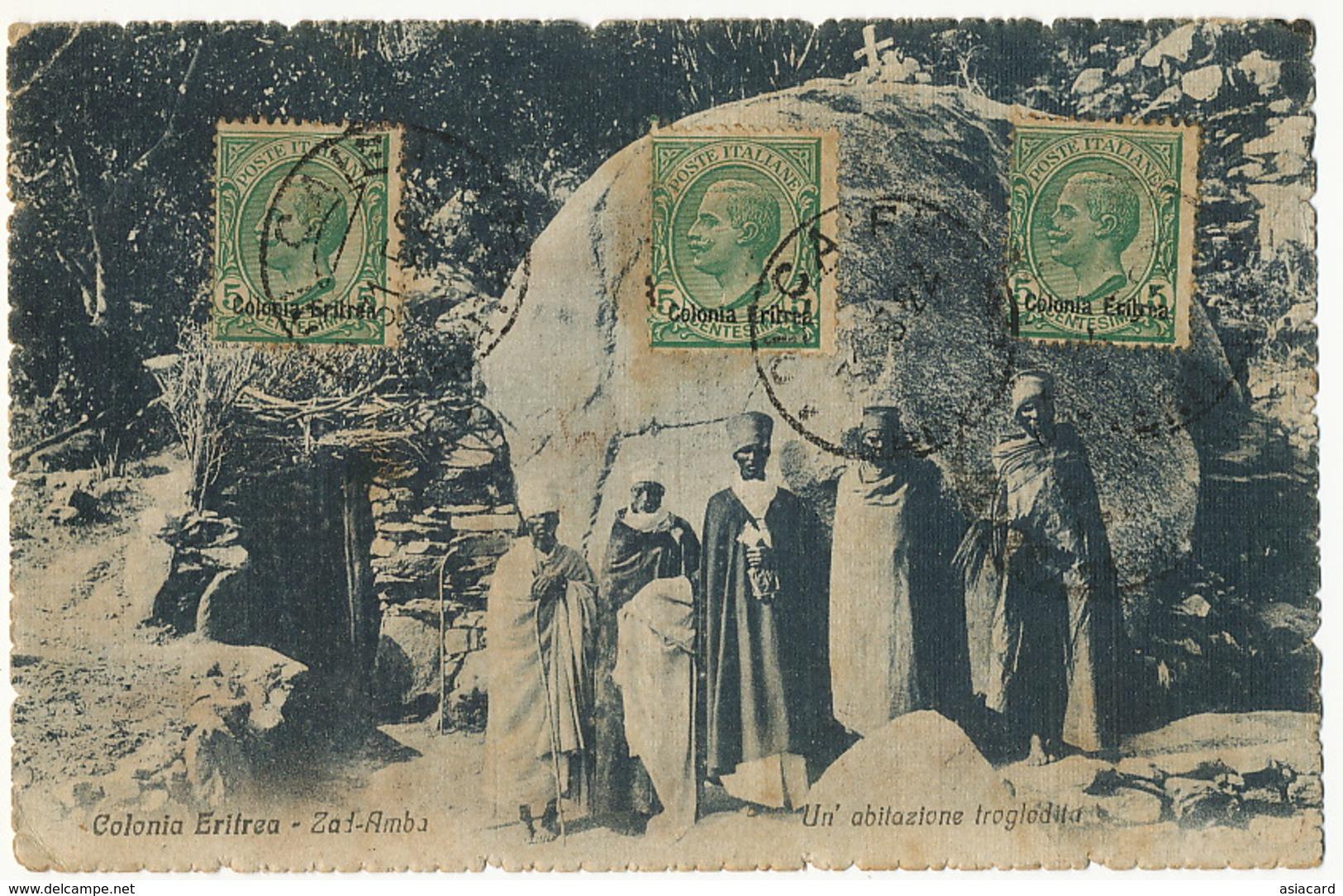 Zad Amba Un Abitazione Troglodita 3 Stamps Deltiology Wien I.P.A. Luigi Monti Banca D' Italia Adi Caieh Used To Cuba - Erythrée