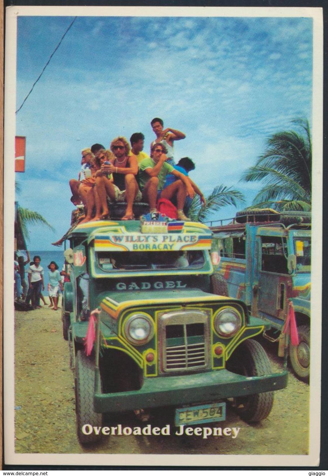 °°° 8703 - PHILIPPINES - OVERLOADED PASSENGER JEEPNEY FROM BORACAY KALIBO , AKLAN °°° - Filippine