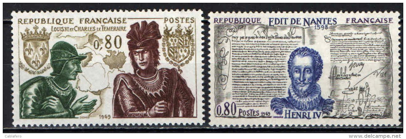 FRANCIA - 1969 - STORIA DI FRANCIA: LUIGI XI E CARLO, ENRICO IV - NUOVI MNH - Neufs