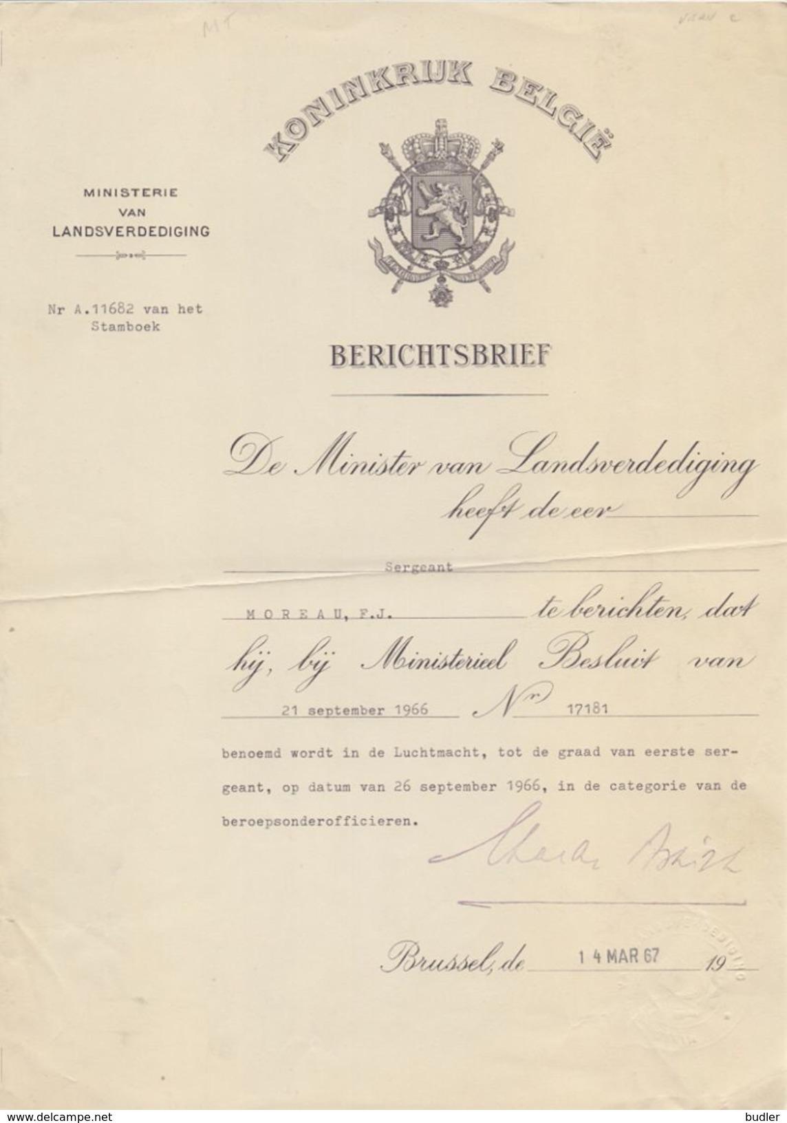 BELGIË/BELGIQUE :1967: Ministerie Van Landsverdediging –  Berichtsbrief Voor Sergeant MOREAU F.J., (Hoegaarden). - Autographes