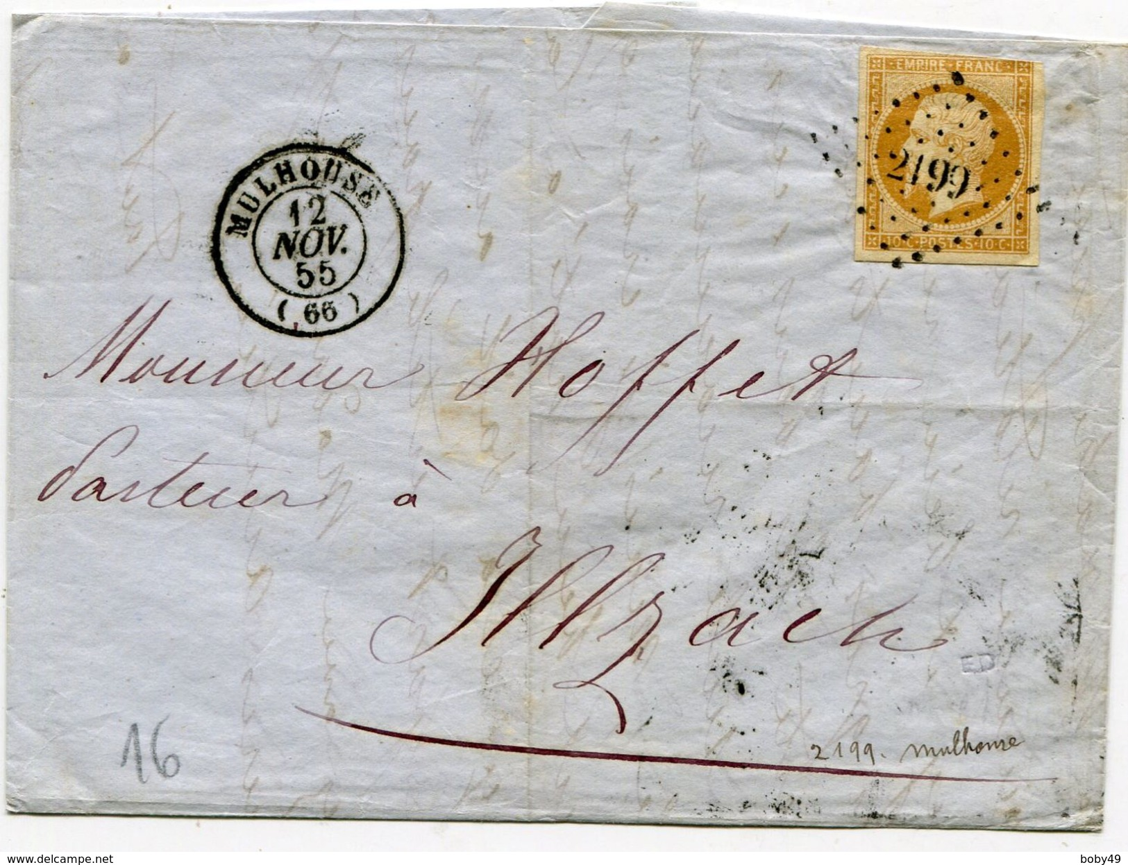 HAUT RHIN De MULHOUSE LAC Du 12/11/1855 Avec N°13 Oblitéré PC 2199 - 1849-1876: Période Classique