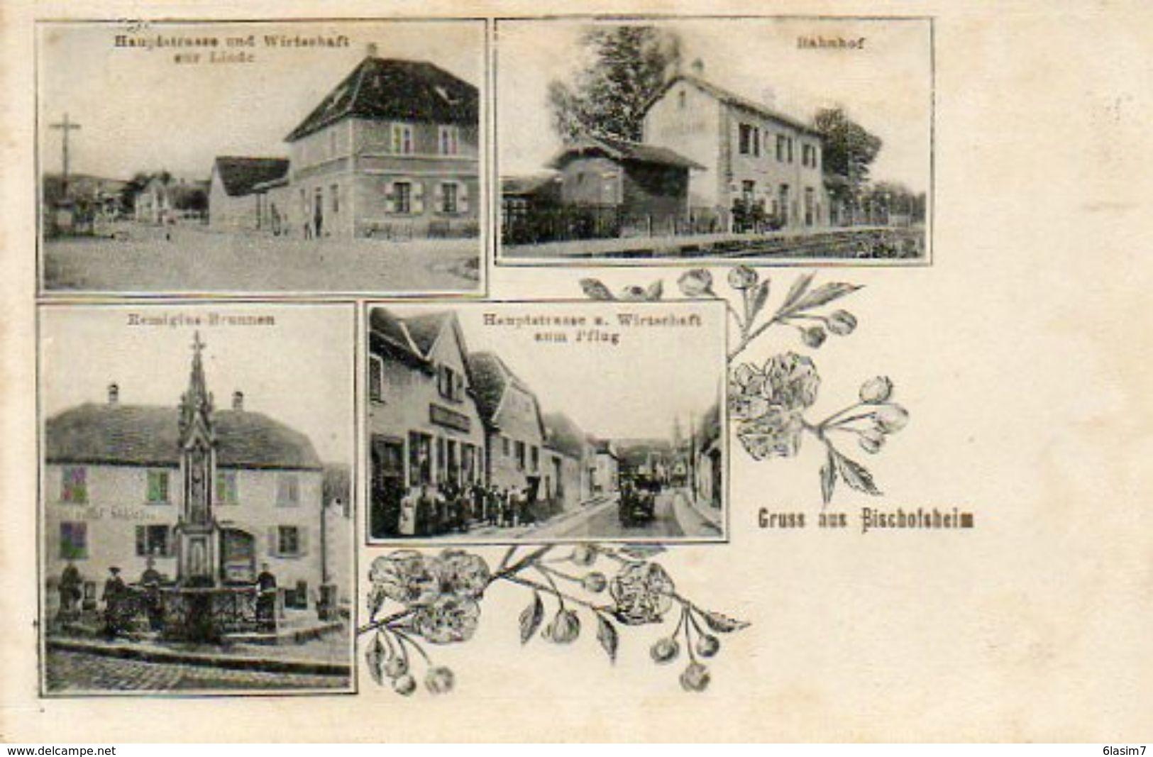 CPA - BISCHOFSHEIM (67) - Carte Multi-Vues De 1906 - Gare Et Restaurants Au Tilleul Et à La Charrue - Autres Communes