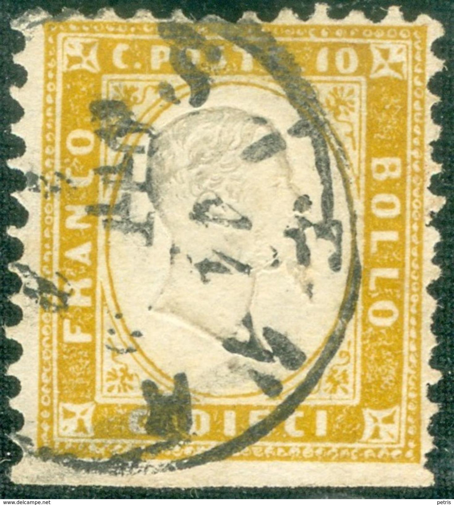 Italy 1862 Effige V. Emanuele In Rilievo 10 C. Non Dentellato In Basso - Lot. RE6 - 1861-78 Vittorio Emanuele II
