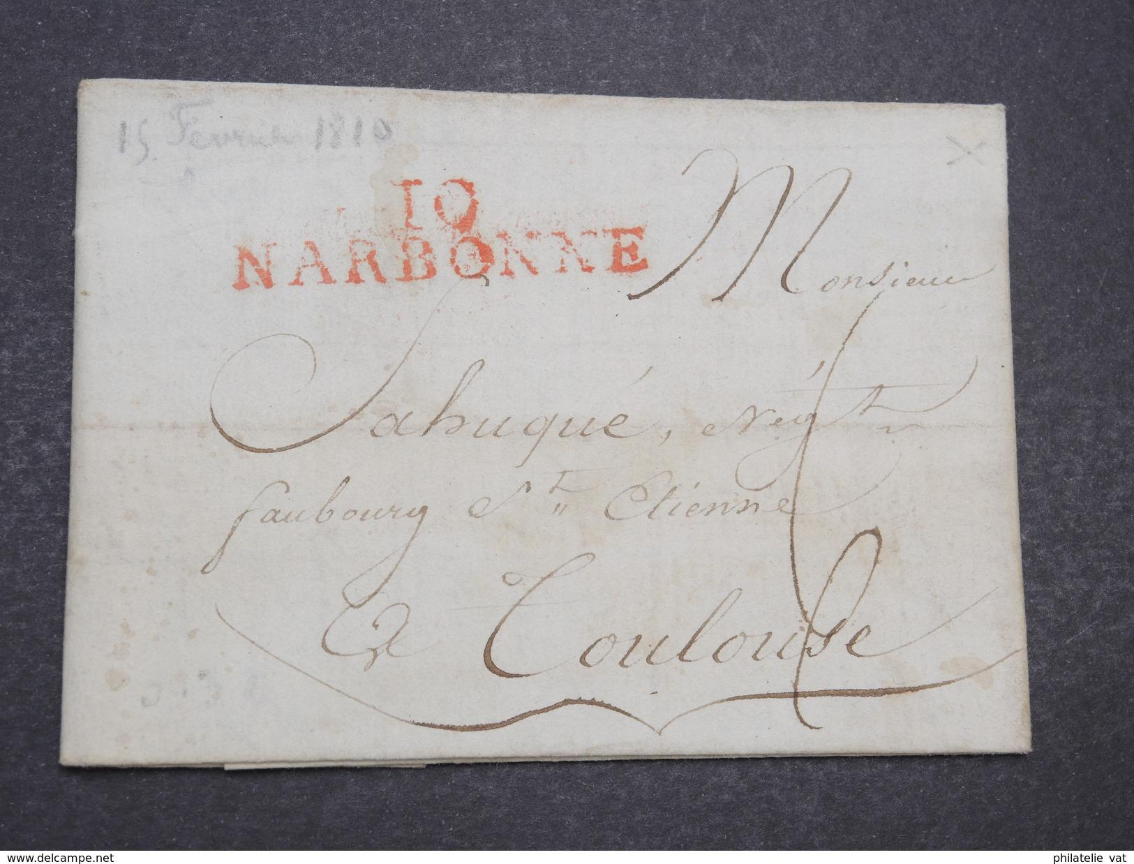 France - MP à étudier Avec Marque Narbonne Rouge - TB - Fev 1810 - P22012 - Marcophilie (Lettres)