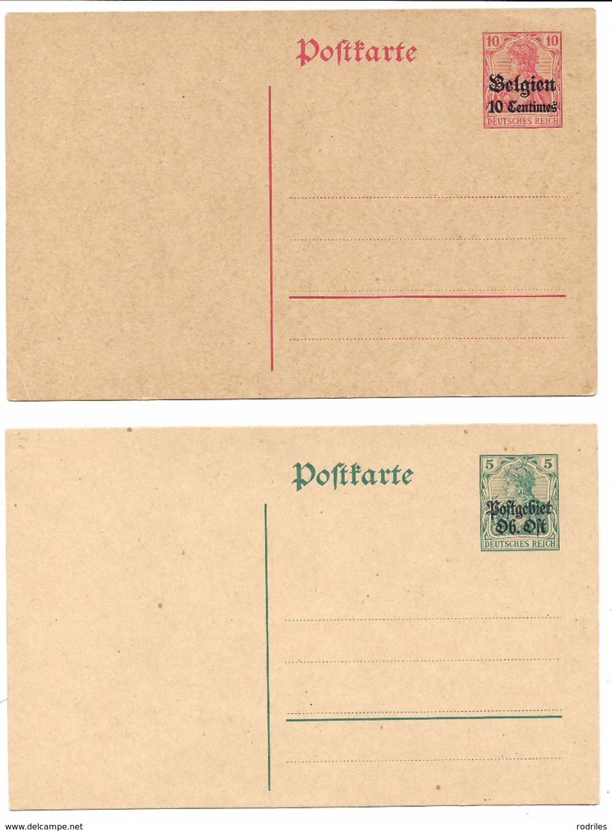 Alemania. Dos Enteros Postales Nuevos Y Sobrecargados - Zone Belge