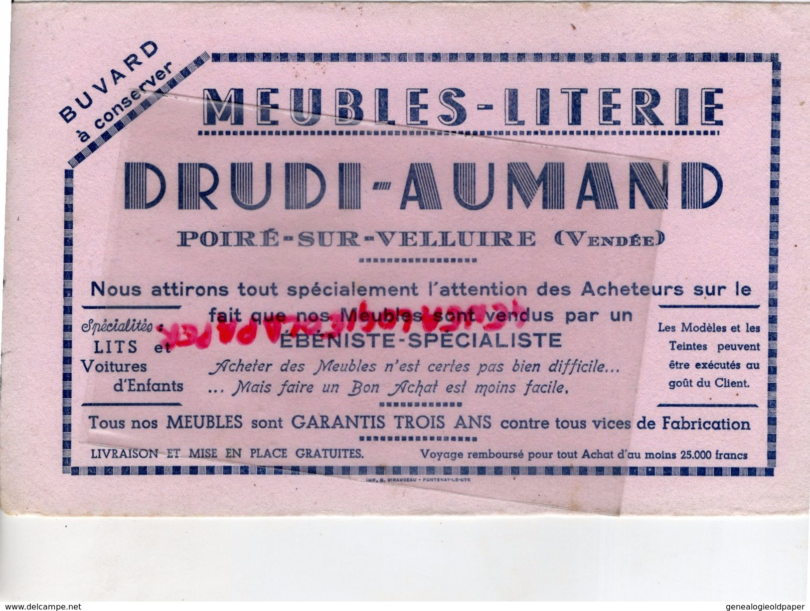85- POIRE SUR VELLUIRE- RARE BUVARD MEUBLES LITERIE DRUDI-AUMAND- EBENISTE - IMPRIMERIE GIRAUDEAU FONTENAY LE COMTE - Carte Assorbenti