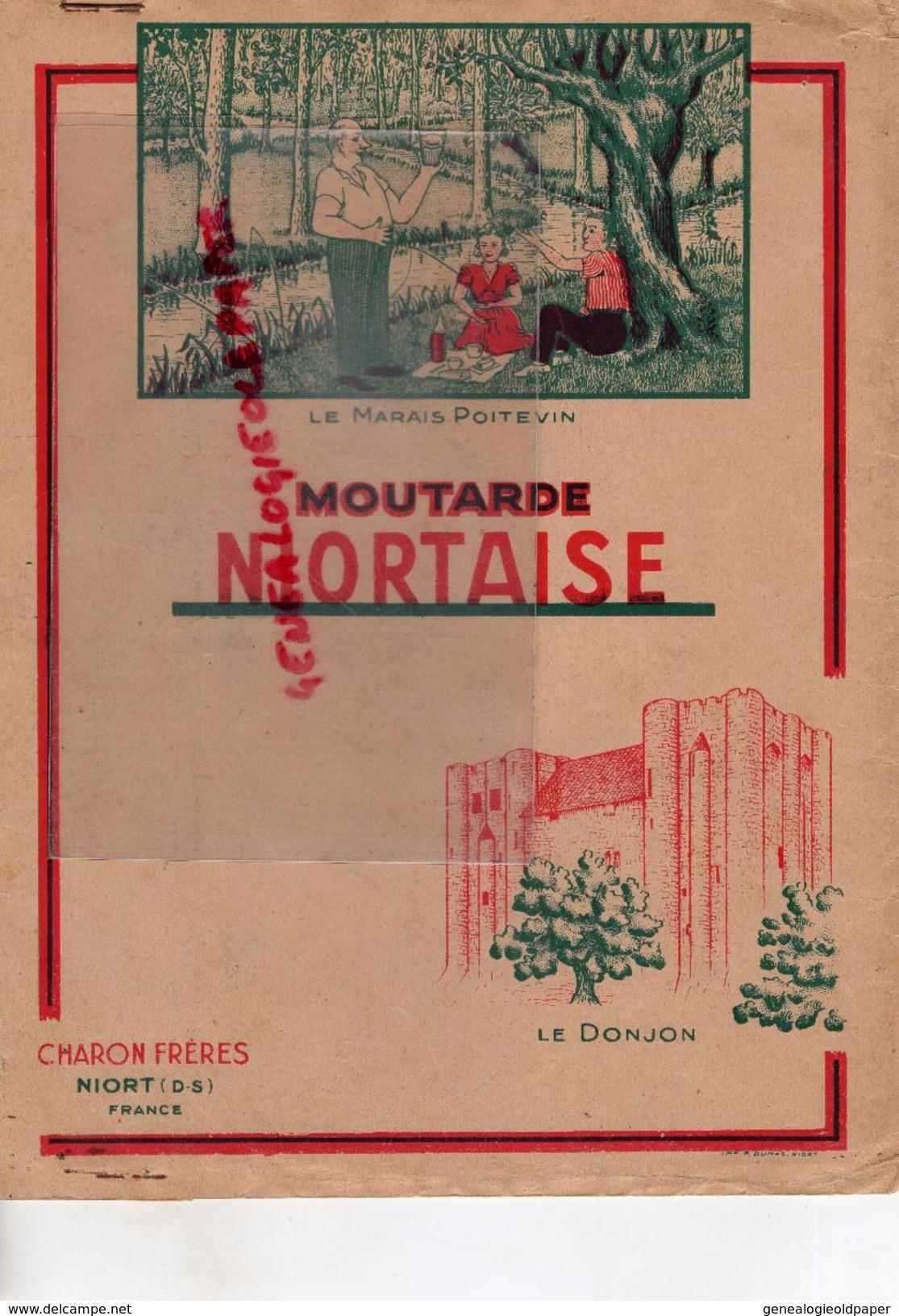 79 - NIORT - RARE PROTEGE CAHIER CHARON FRERES- MOUTARDE NIORTAISE- JEAN MICHEL PIERRE 1952-1953-MARAIS POITEVIN-DONJON - Book Covers
