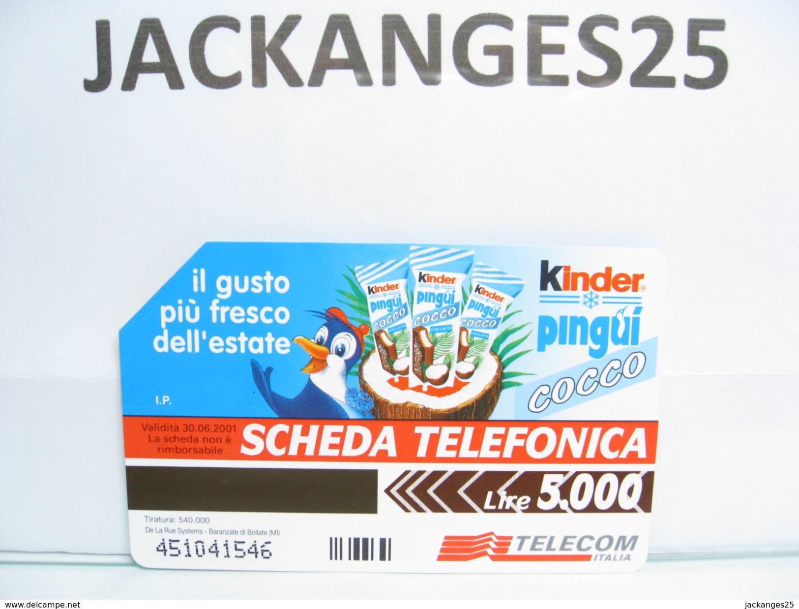 KINDER PINGUI CARTE DE TELEPHONE  N° 2 ITALIE FERRERO 1999 - Kinder & Diddl