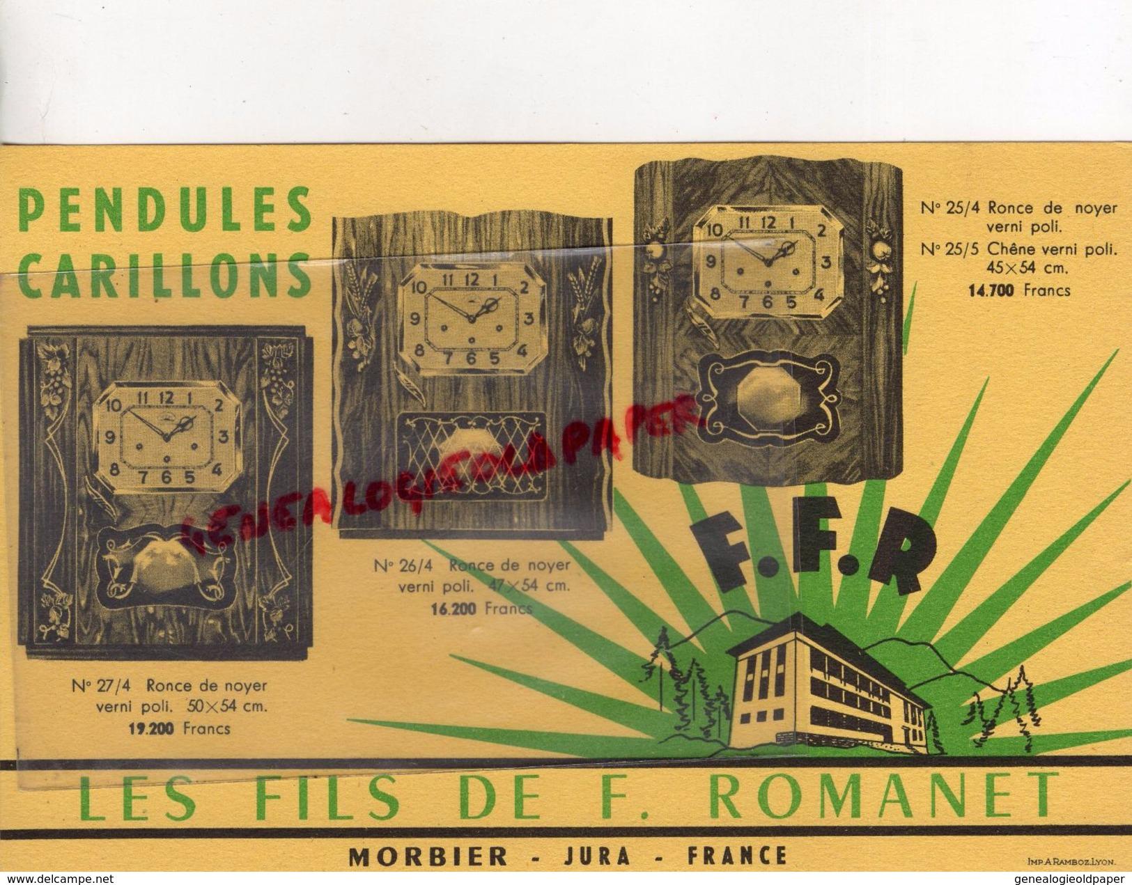 39- MORBIER- JURA- RARE BUVARD LES FILS DE F. ROMANET- HORLOGERIE -PENDULES CARILLONS-RONCE DE NOYER- HORLOGER - H