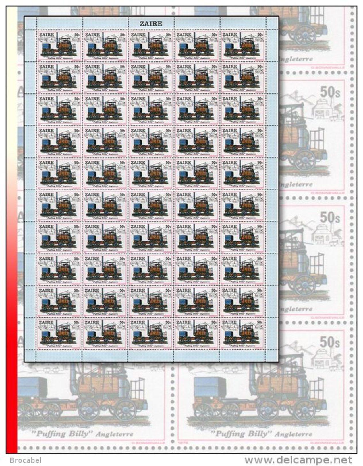 """Zaire 0992** 50S  Locomotive """"Puffing Billy"""" - Feuille / Sheet De 50  MNH - 1980-89: Neufs"""