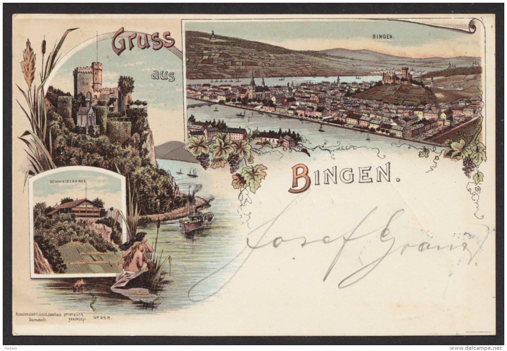 """""""Bingen"""", Farb. Litho, 1899 Gelaufen - Deutschland"""
