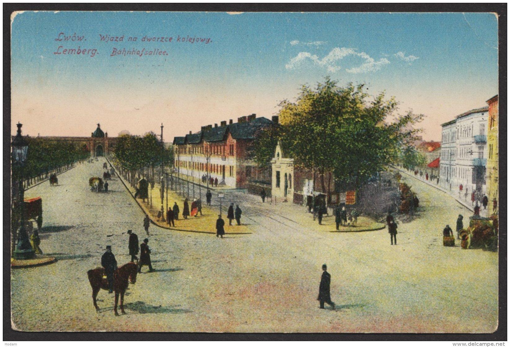 """""""Lemberg/Lwow"""", Bahnhofsallee, Farbig, 1916 Gelaufen - Weißrussland"""