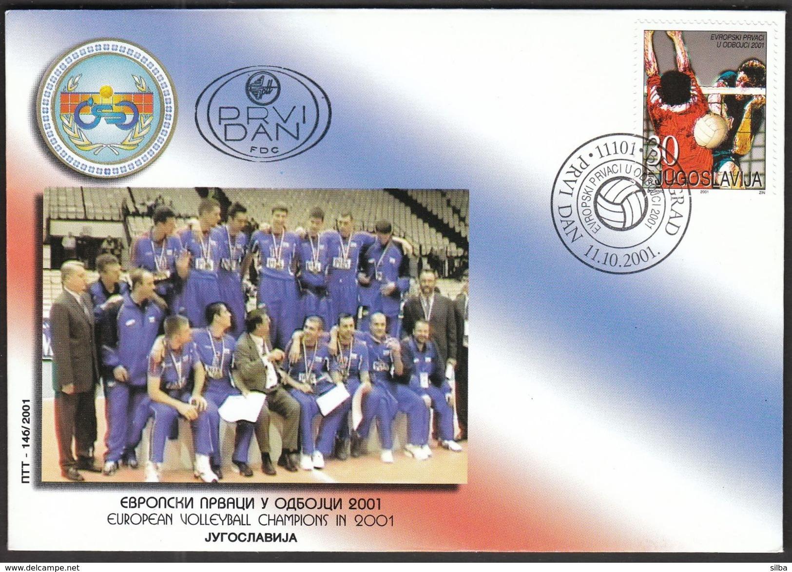 Yugoslavia Belgrade 2001 / Volleyball European Championship / Winners / FDC - Voleibol