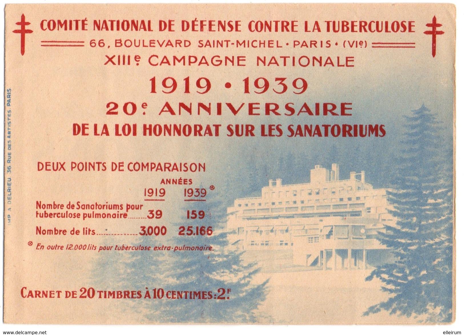 COMITE NATIONAL De DEFENSE CONTRE LA TUBERCULOSE. CARNET COMPLET De 20 VIGNETTES .20 ème ANNIVERSAIRE. - Erinnofilie