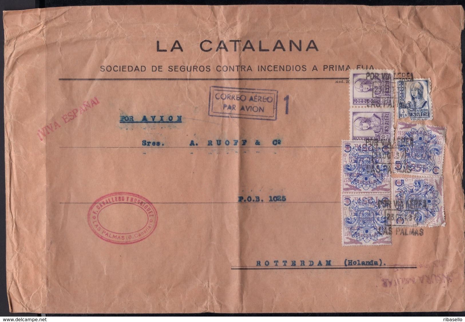 España 1937. Canarias. Carta De Las Palmas A Rotterdam. Censura. - Marcas De Censura Nacional