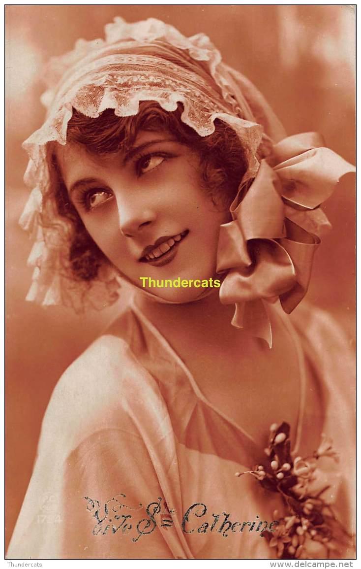 CPA  JOLIE FEMME VIVE STE CATHERINE NOM PRENOM RPPC REAL PHOTO POSTCARD NAMESDAY NAME BEAUTIFUL LADY - Prénoms