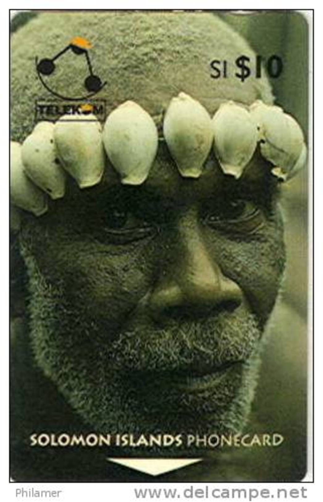 Salomon Solomon Telecarte Phonecard 10 Dollars Visage Pere SANS B Ut TBE - Isole Salomon