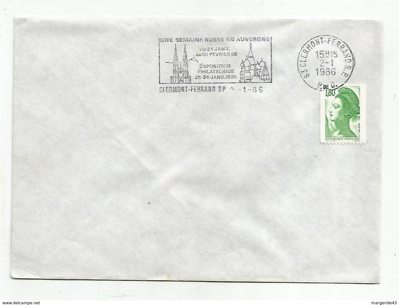 1 ER JOUR FLAMME SEMAINE RUSSE EN AUVERGNE CLERMONT FERRAND 1986 - Marcophilie (Lettres)