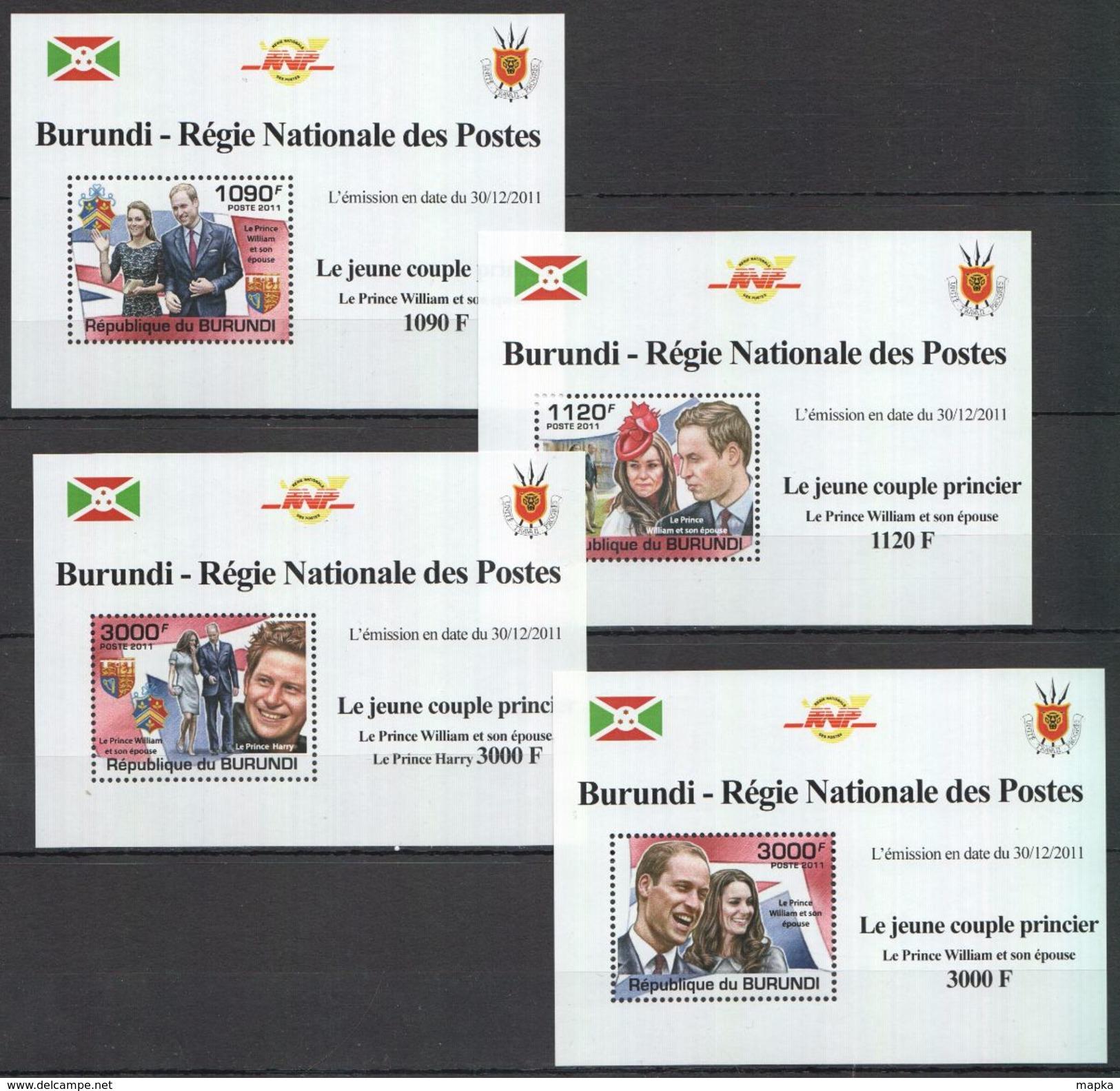 G763 2011 BURUNDI ROYALTY JEUNE COUPLE PRINCIER PRINCE WILLIAM !!! 4 LUX BL MNH - Familles Royales