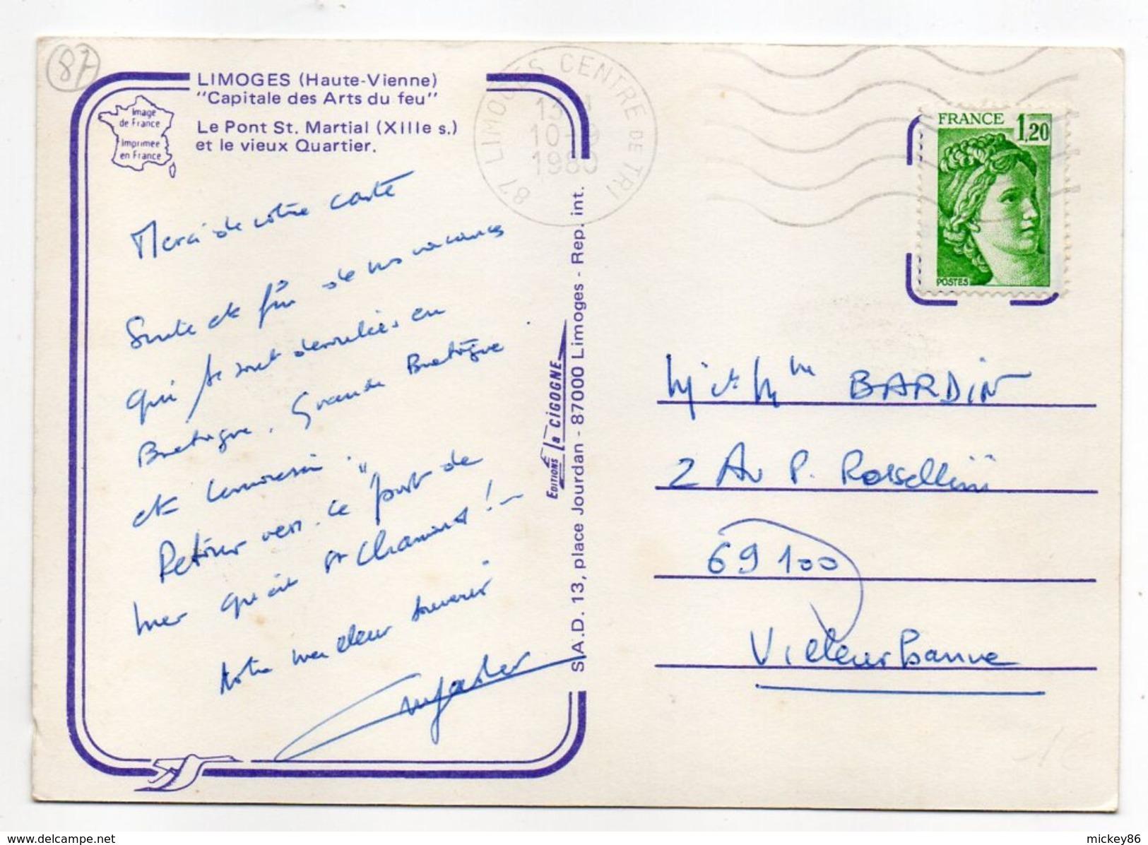 LIMOGES - 1980--Le Pont St-Martial (XIIIe Siècle--fleurs) Et Le Vieux Quartier --timbre + Cachet - Limoges