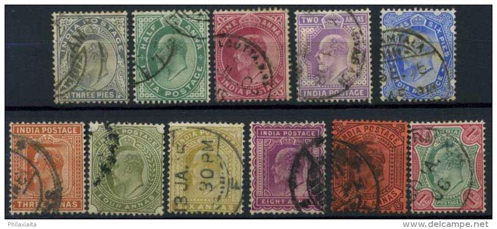 India 1902 Mi. 55-65 Usato 80% Re Edoardo VII - 1902-11 King Edward VII