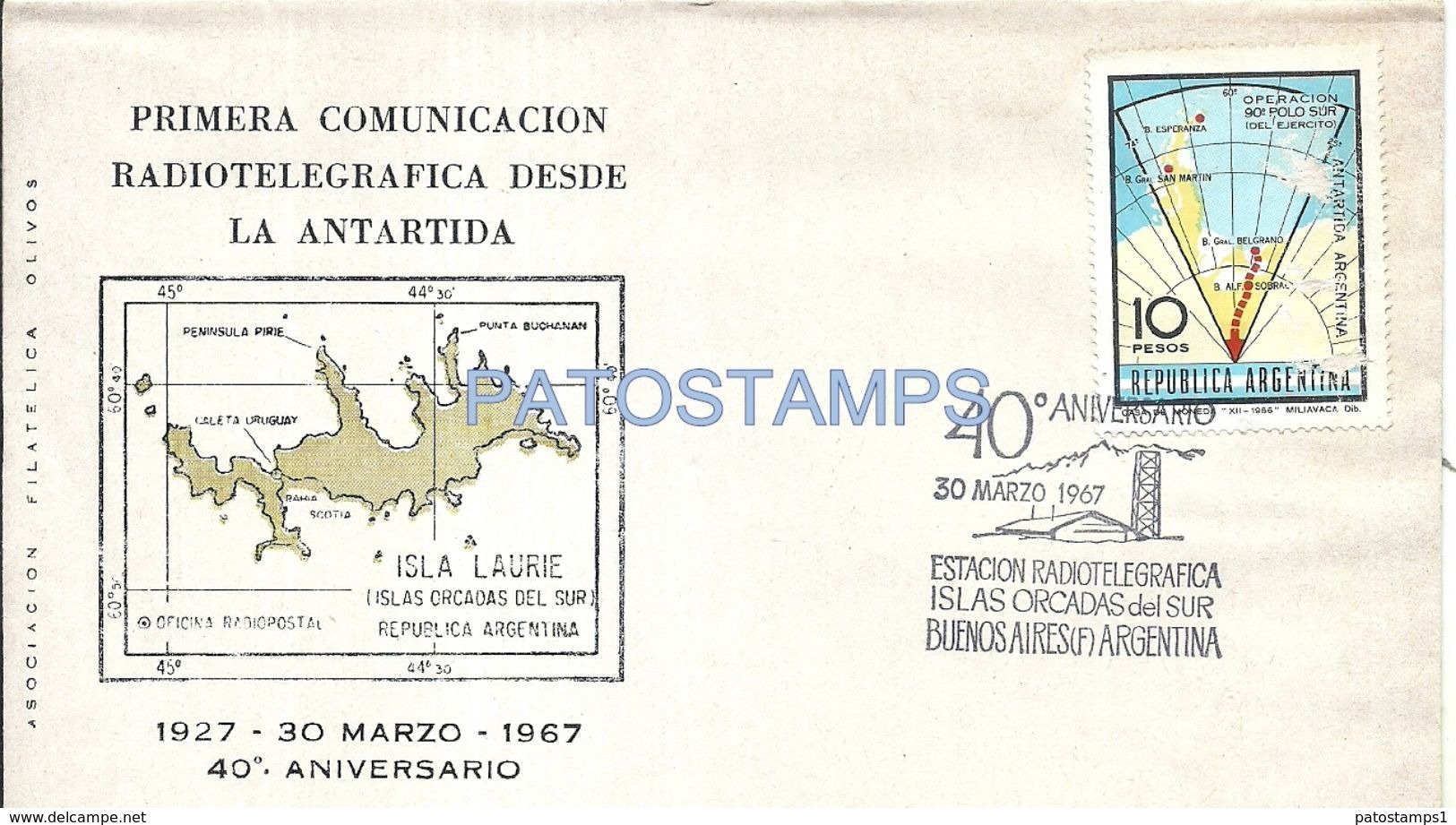 79664 ARGENTINA ANTARTIDA ANTARCTICA COVER 40º ANIVERSARIO 1º COMUNICACION RADIOTELEGRAFICA NO POSTCARD - Argentinien