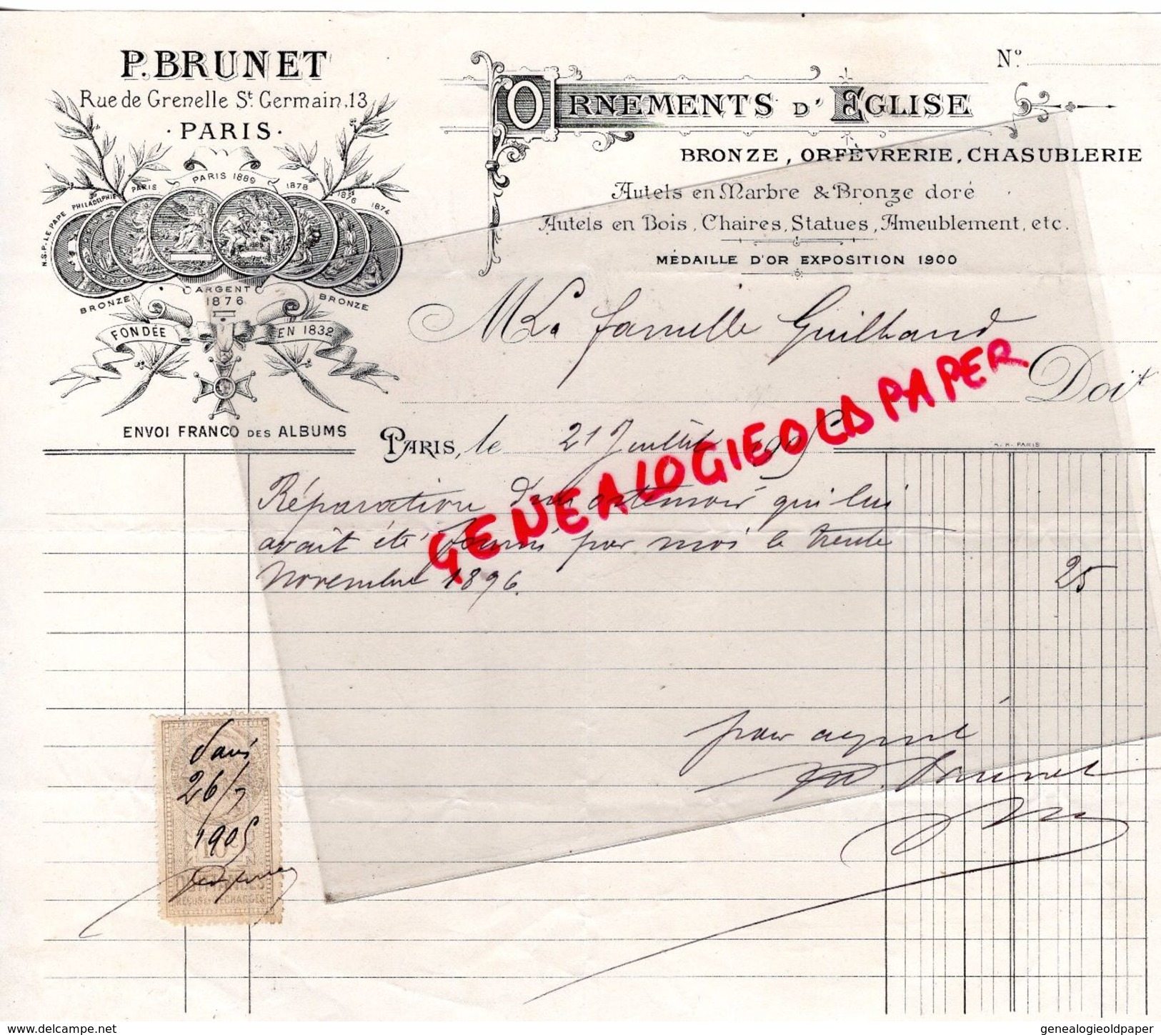 75- PARIS- FACTURE P. PRUNET-OEEMENTS EGLISE-ORFEVRERIE CHASUBLERIE-BRONZE-13 RUE GRENELLE ST GERMAIN-1905 - Old Professions