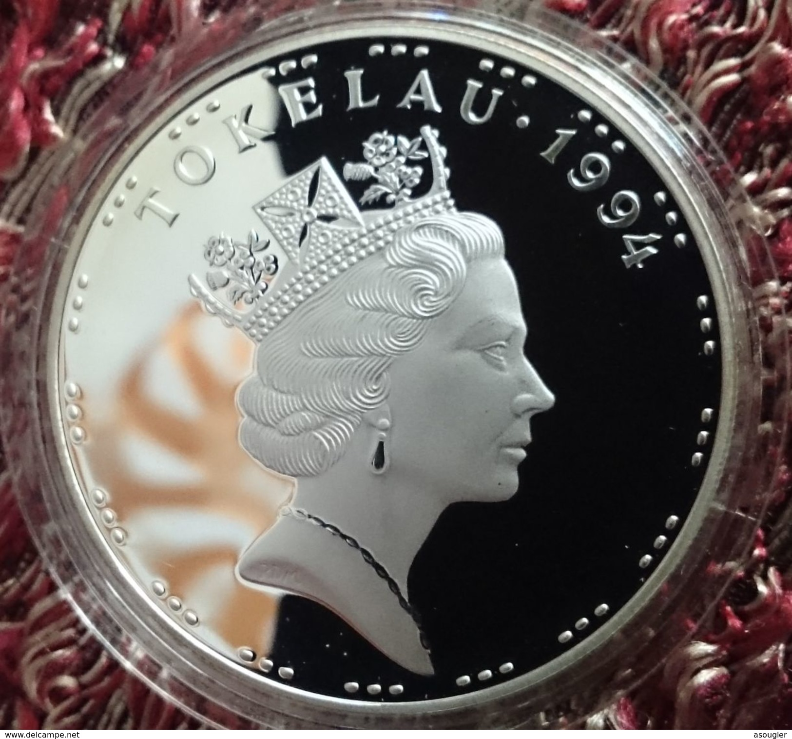 """TOKELAU 5 TALA 1994 SILVER PROOF """"OLYMPIC GAMES 1996"""" Free Shipping Via Registered Air Mail - Monnaies"""