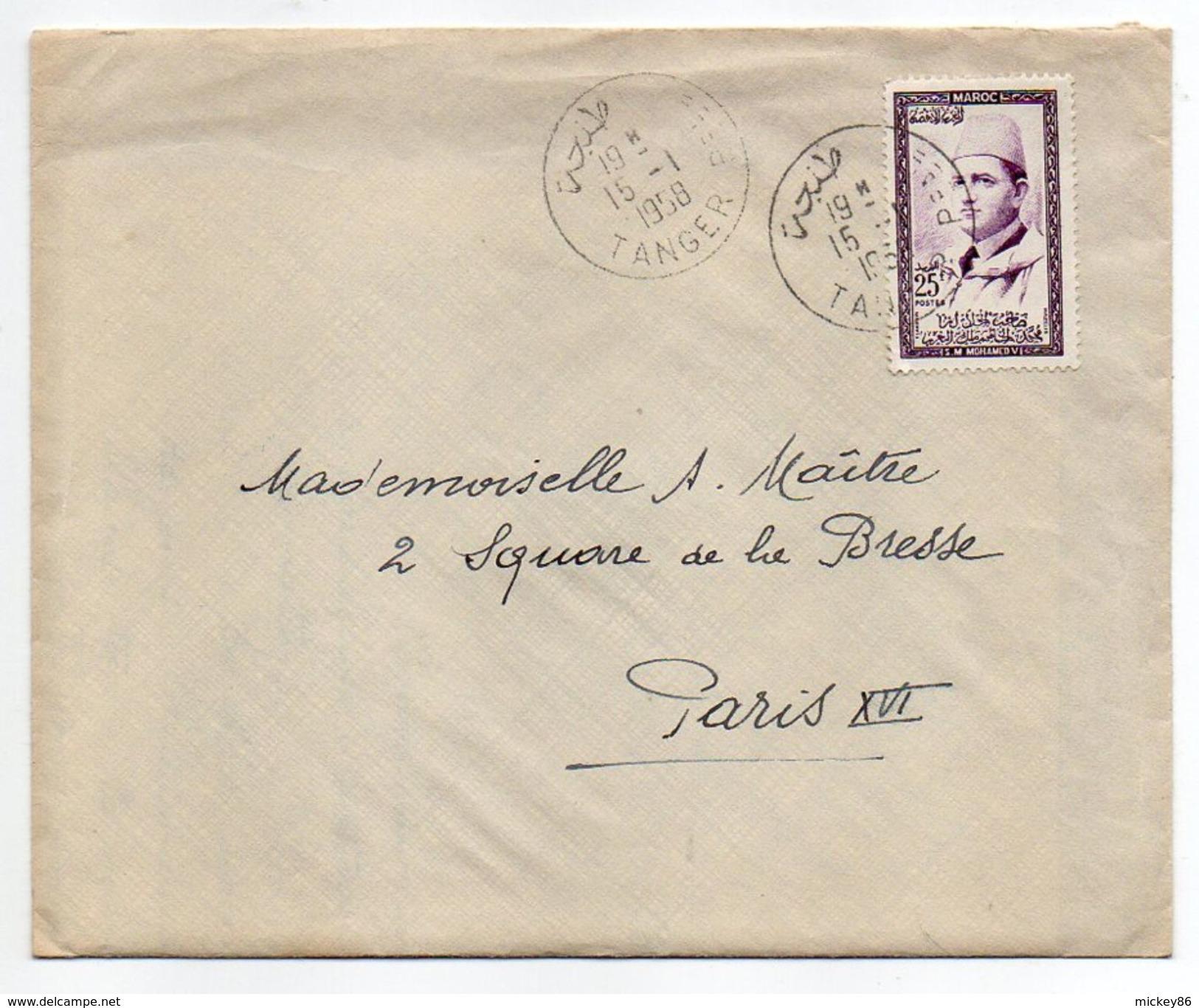 Maroc--1958--lettre De TANGER Pour PARIS (France)--timbre Seul Sur Lettre--cachet - Maroc (1956-...)