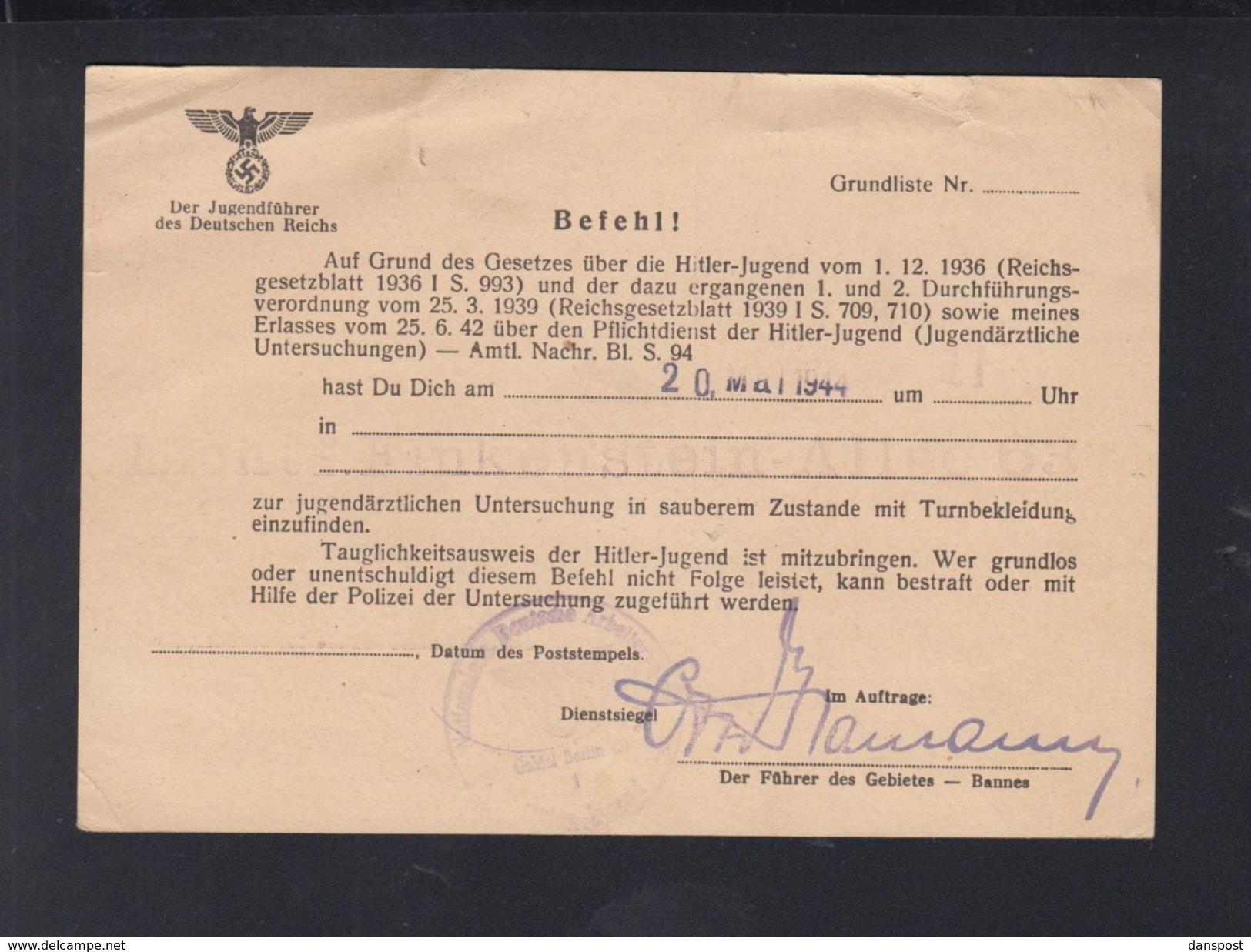 Dt. Reich Hitlerjugend Befehl 1944 - Historische Dokumente