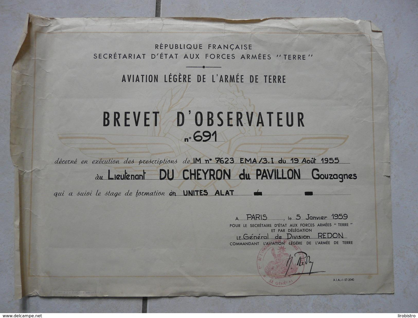 Lot11 - Document Militaire -Brevet D'Observateur Aviation Légère Armée De Terre - Unites ALAT Le 05/01/1959 - Documents