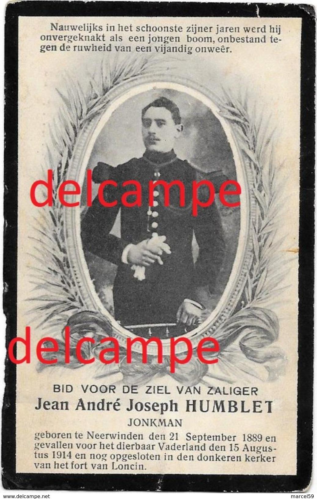 OORLOG GUERRE Jean Humblet Neerwinden Vestings Soldaat Gesneuveld In Het Fort Loncin Augustus 1914 Liege - Devotion Images
