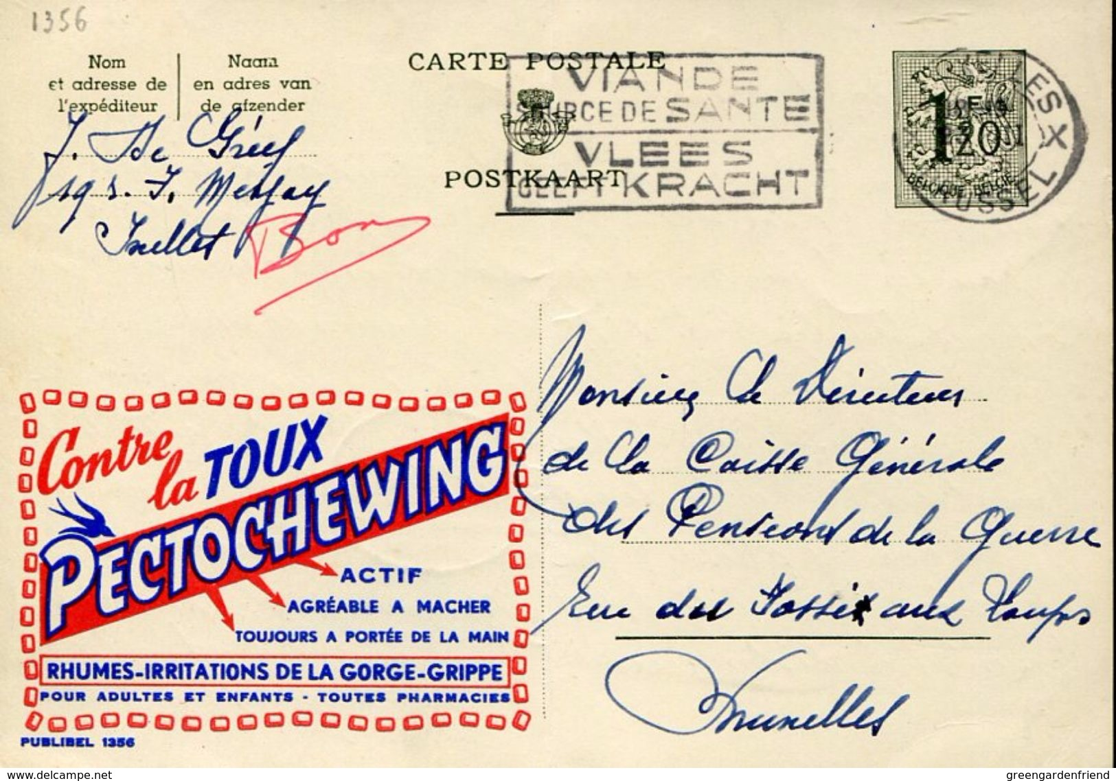27351 Belgium, Stationery Card  Circuled 1956 Publibel 1356, Contre La Toux Pectochewing - Medicine