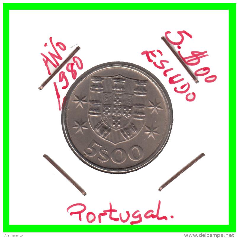 PORTUGAL  /  MONEDA RÉPUBLICA > 5.00 ESCUDOS AÑO 1980 - Portugal