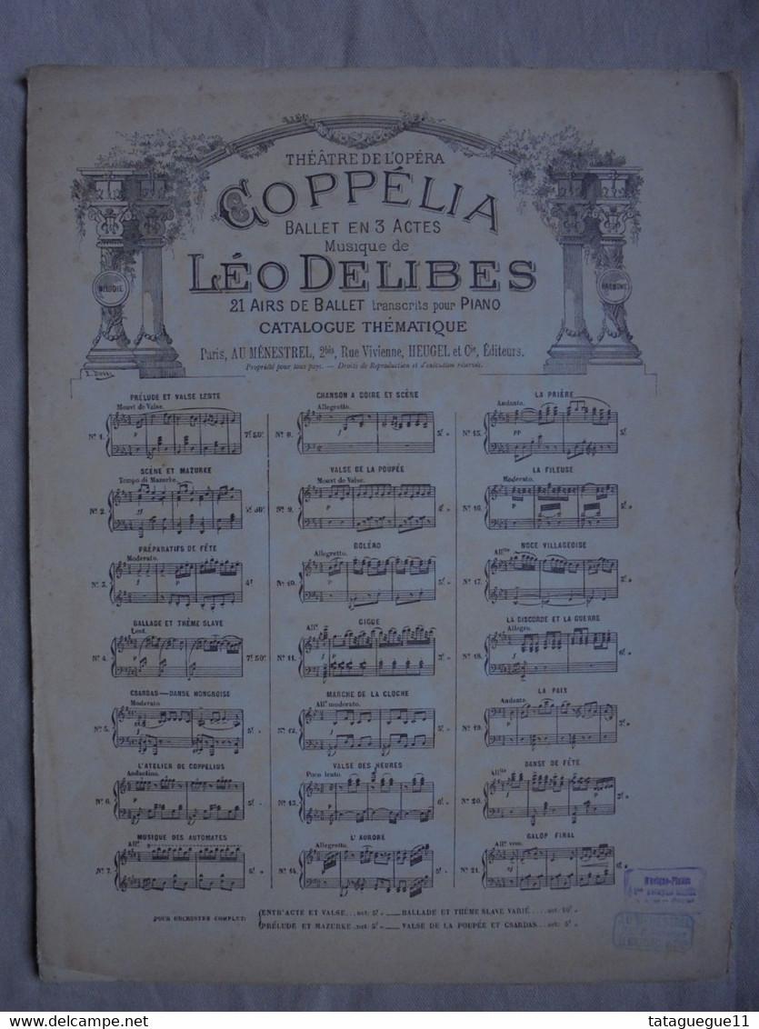 Ancienne Partition Théâtre De L'Opéra COPPELIA Par Léo DELIBES - Opéra