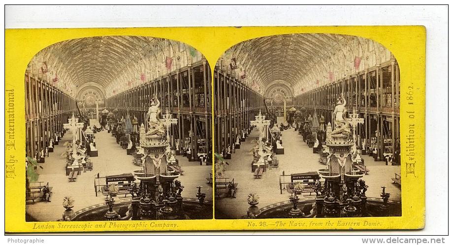 Londres Exposition Universelle De 1862 Nef Centrale Ancienne Stereo Photo London Stereoscopic - Photos Stéréoscopiques