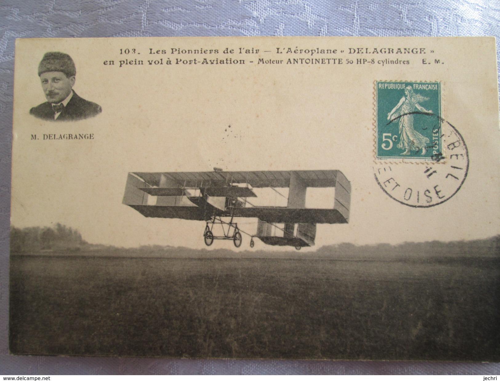 Aeroplane Delagrange ;en Plein Vol A Port Aviation ; Moteur Antoinette - Autres