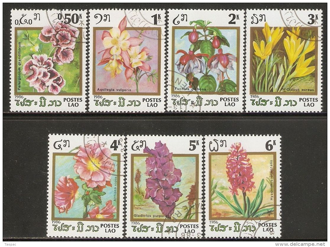 Laos 1986 Mi# 890-896 Used - Flowering Plants - Laos