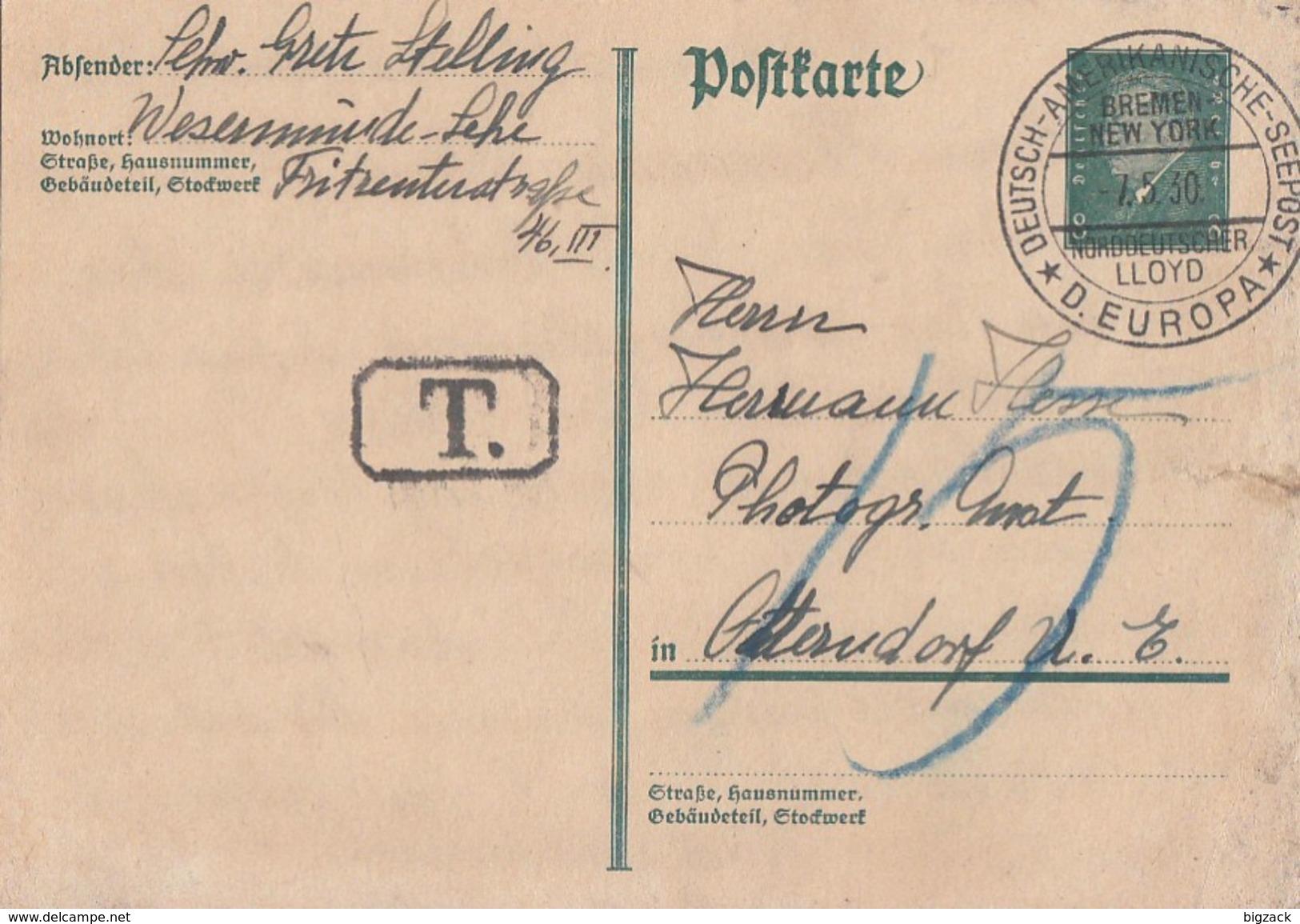 DR GS MIT Stempel Dt-Amerk.-Seepost Bremen-New York 7.5.30 Norddt. Lloyd Nachgebühr - Deutschland