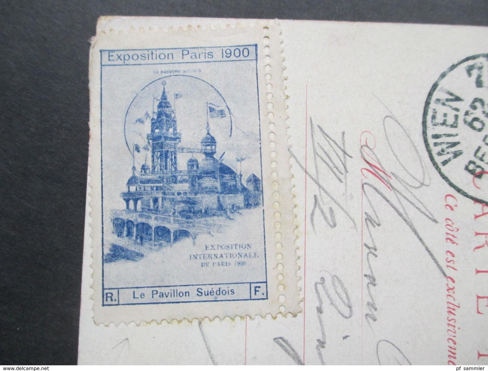 AK / Künstlerkarte 1900 Hotel De Ville. Vignette Exposition Paris 1900 Le Pavillon Suedois. Nach Wien. Wien 7/2 Bestellt - Hotels & Gaststätten