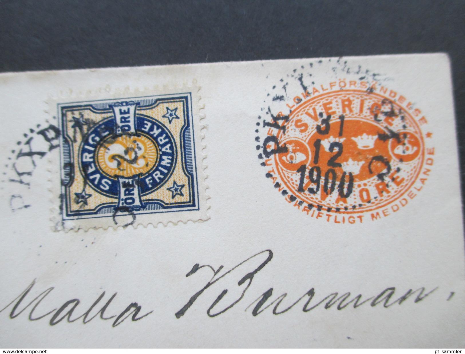 Schweden 1900 Ganzsachenumschlag Mit Zusatzfrankatur! Nach Malmö - Schweden