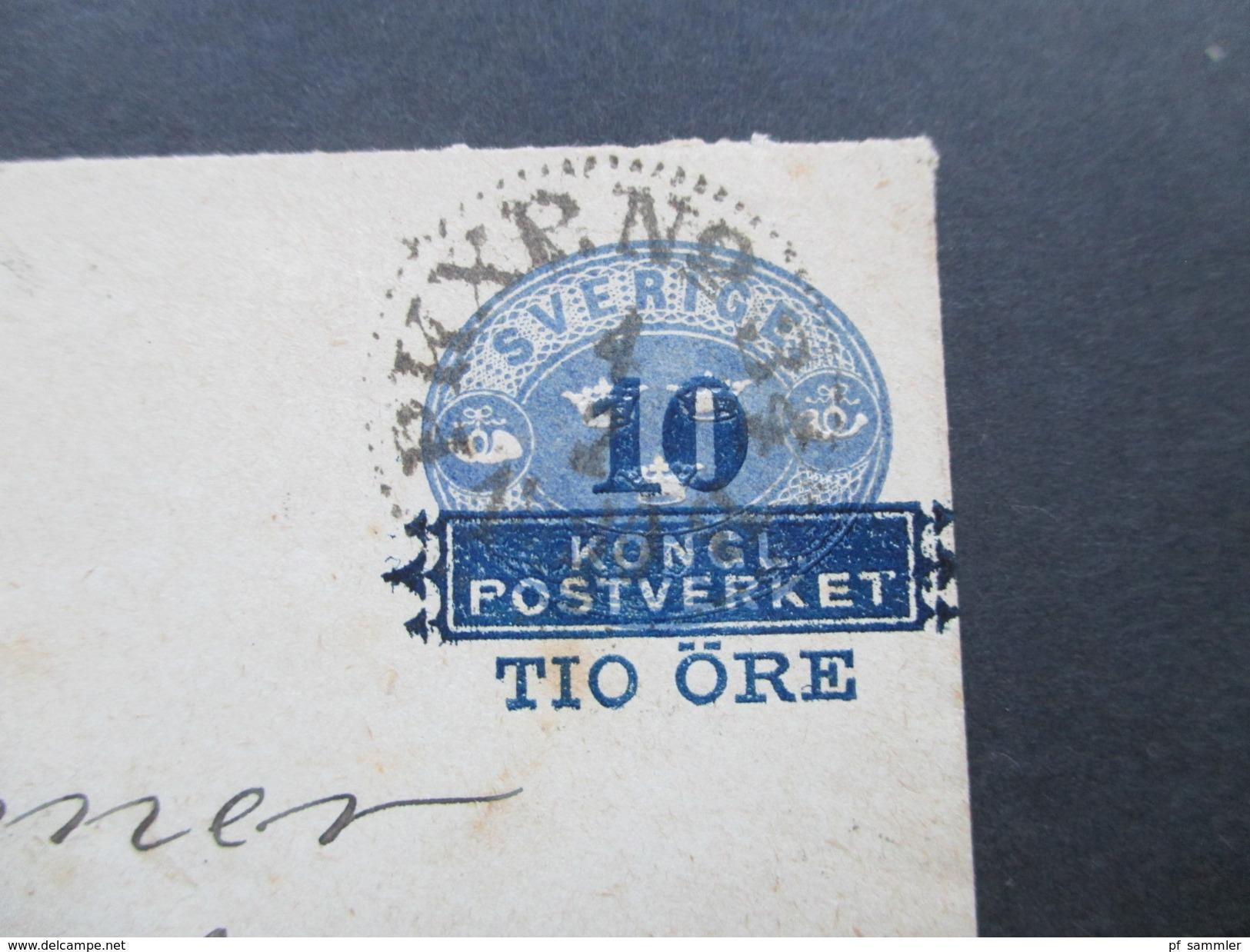 Schweden Ca. 1889 Ganzsachenumschlag Mit Aufdruck / Aufbruauchsausgabe! - Schweden