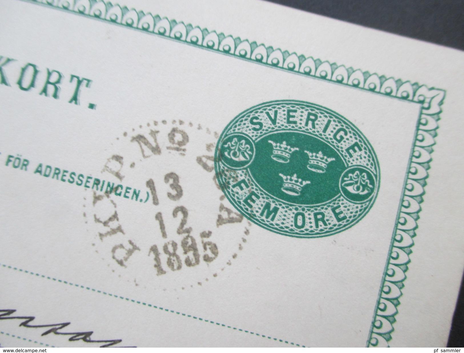 Schweden 1895 Brefkort / Ganzsache Fem Öre. Wiskastrands Mekaniska Wafveri - Schweden