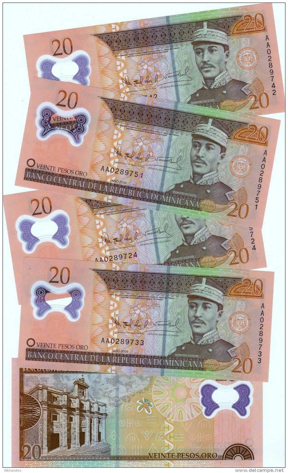 1 BANKNOTE DOMINICAN REPUBLIC 20 PESOS ORO NEW  NOTE 2010  UNC POLYMER - República Dominicana