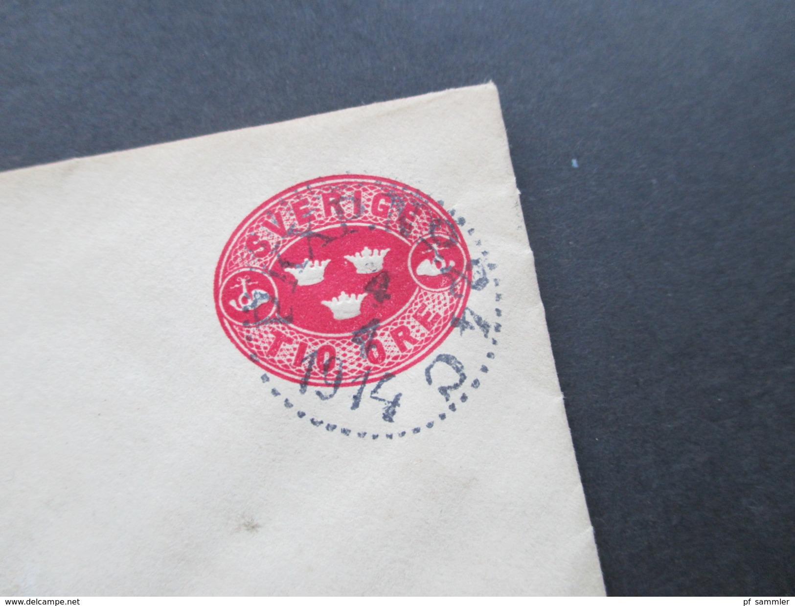 Schweden 1914 Ganzsachenumschlag Nach Gafle. Stempel Gafle TUR. O. Wilh. Dahlgren Ingeniör Sala - Schweden