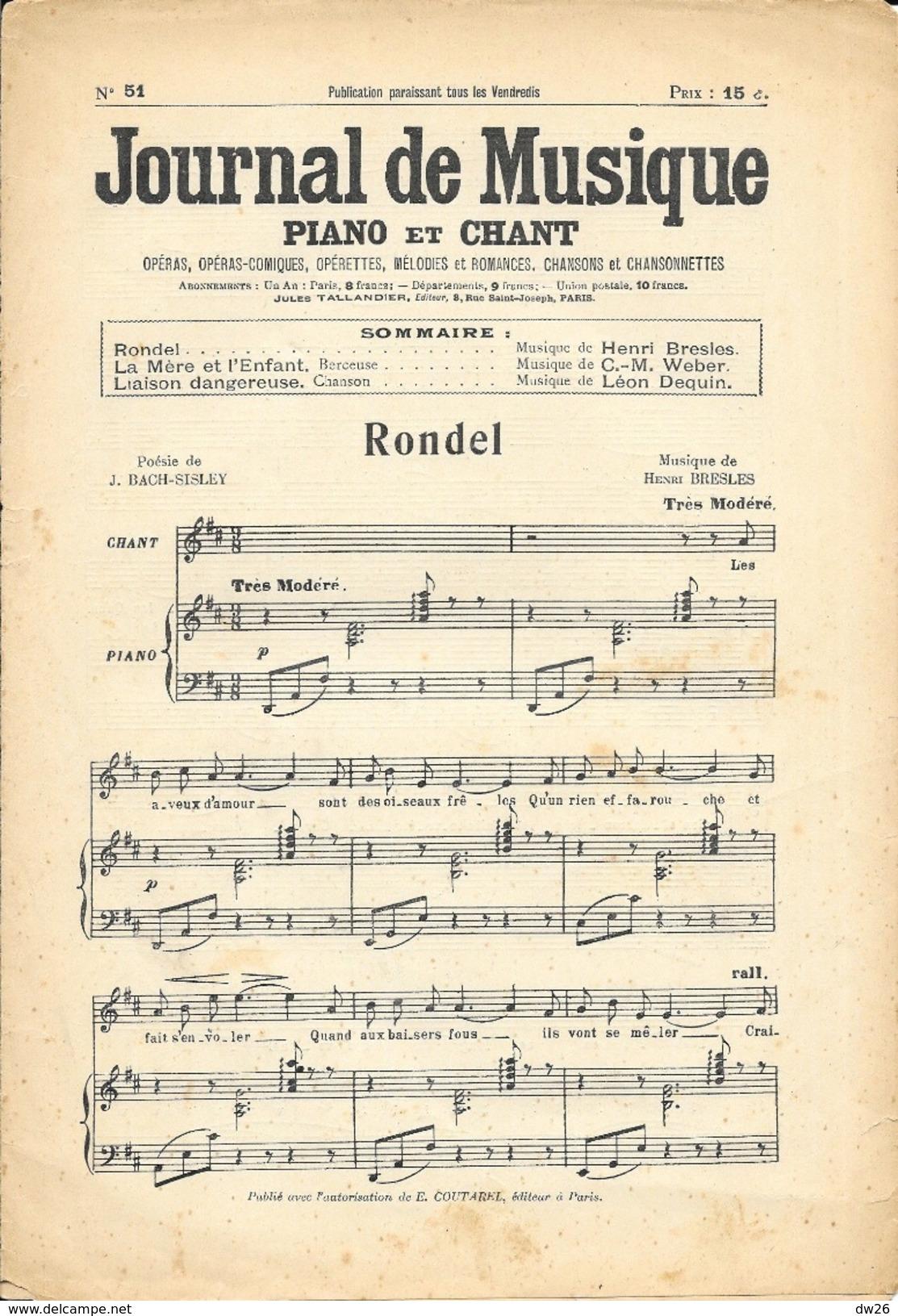 Journal De Musique N° 51 (Piano Et Chant) Avec Partitions: Rondel, La Mère Et L'Enfant (Berceuse), Liaison Dangereuse - Autres