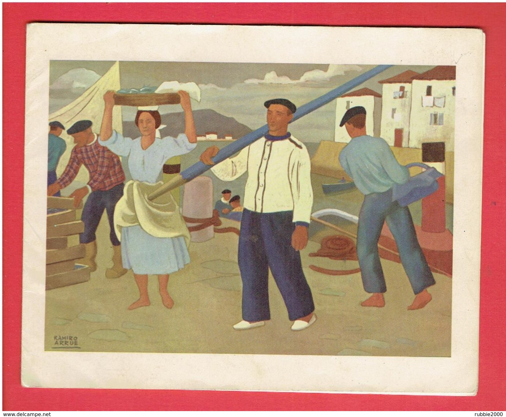 PAYS BASQUE 1964 TABLEAU DE RAMIRO ARRUE CARTE DOUBLE EN BON ETAT EDITEUR VALVERDE SAN SEBASTIAN - Spain