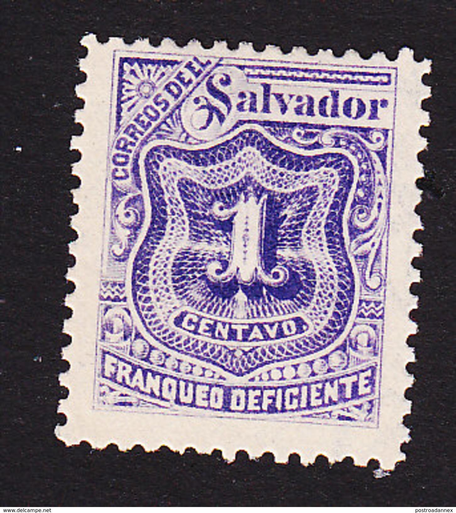 El Salvador, Scott #J33, Mint Hinged, Postage Due, Issued 1898 - Salvador