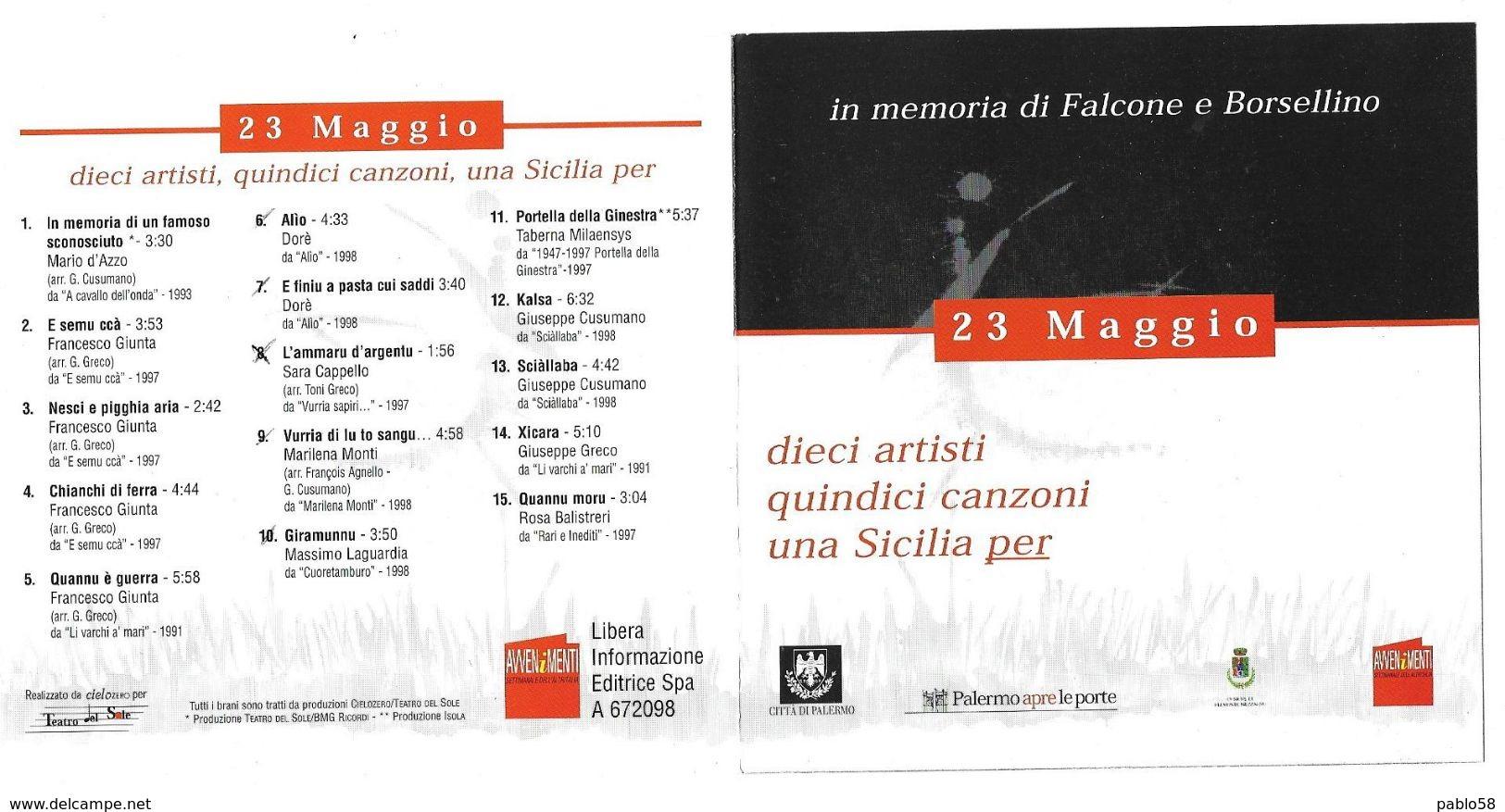 23 Maggio In Memoria Di Falcone E Borsellino 10 Artisti 15 Canzoni - Musik & Instrumente