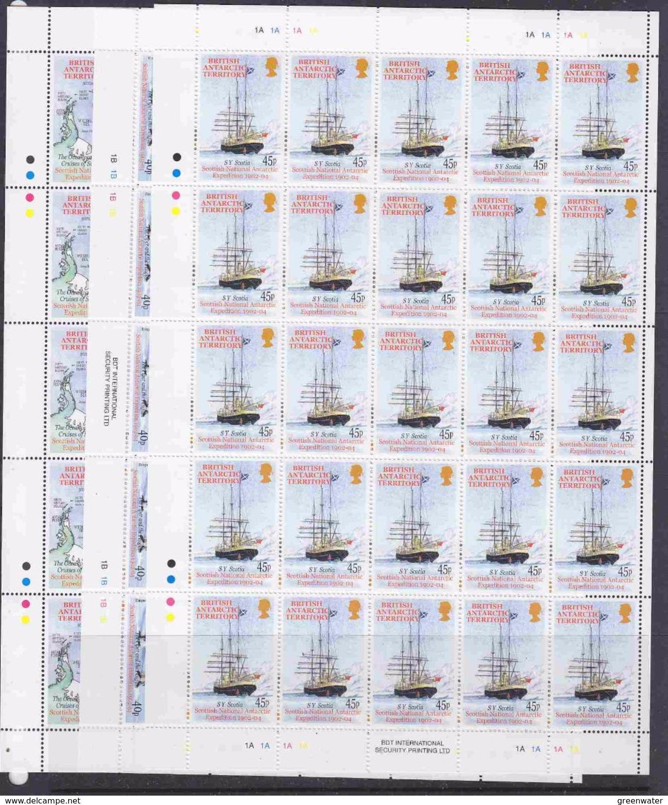 British Antarctic Territory 2001 Scottish National Antarctic Expedition 6v Sheetlets (unfolded)  ** Mnh (F6720) - Brits Antarctisch Territorium  (BAT)
